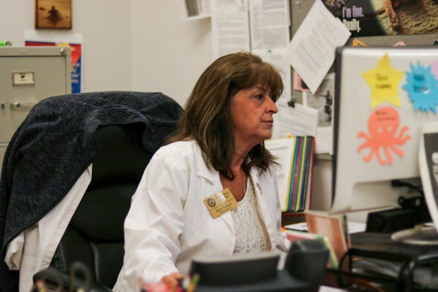 Nurse Rose Holmes works in the nursing office.