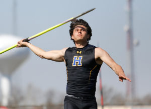 Francis Howell's Bryce Kazmaier competes in javelin throw at Holt High School on Saturday, April 3, 2021, in Wentzville, Mo. Michael Gulledge, Special to STLhighschoolsports.com